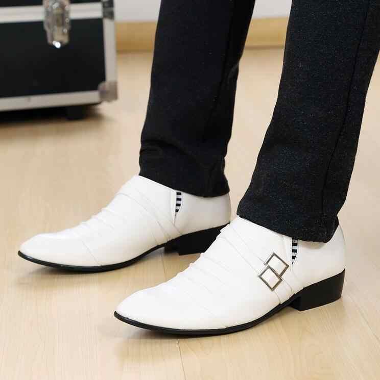 2019 novo branco apontado toe fivela cinta sapatos de couro dos homens sapatos de vestido de couro macio para o casamento masculino oxford sapatos planos