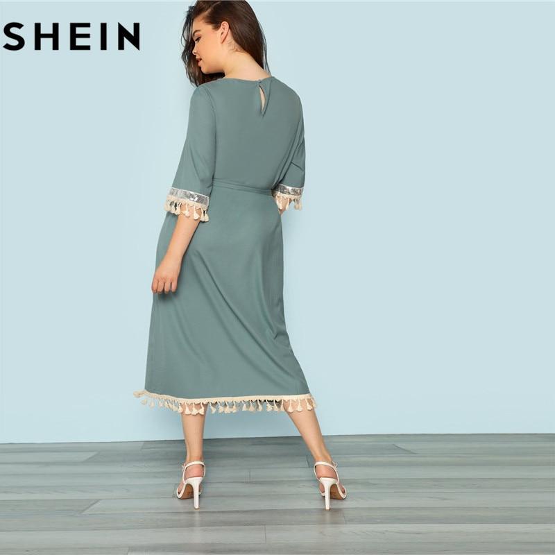 2398c50e966 SHEIN Blue Plus Size Half Sleeve Tassel Trim Elegant Belted Women Straight  Dress 2018 New Casual Office Lady Fringe Hem Dresses-in Dresses from Women s  ...