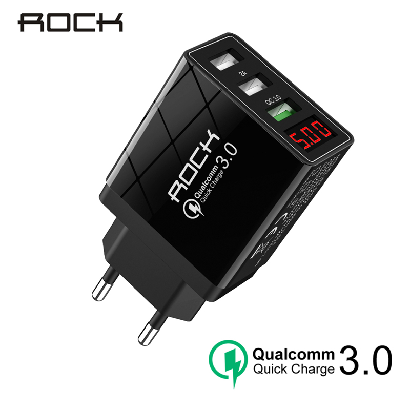 ROCK QC 3.0 30W 3 USB Quick Charging Phone Charger LED Display For iPhone Xiaomi Samsung Huawei 3 Ports Fast Wall Adapter Turbo Зарядное устройство