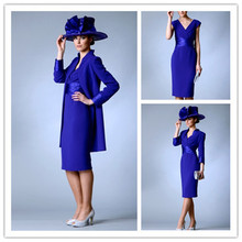 Custom made Plus Size Tea Length Royal Blue Royal Blue Mother Of The Bride Dresses With Free Jacket Women Occasion Party Dress