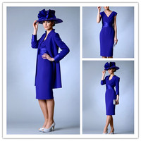 Custom Made Plus Size Tea Length Royal Blue Royal Blue Mother Of The Bride Dresses With