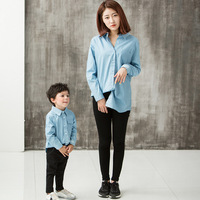 Family Matching Clothes for 2017 Autumn Mother Son Outfits Mother and Daughter Clothes Family Look Long Sleeve Blouse Shirts