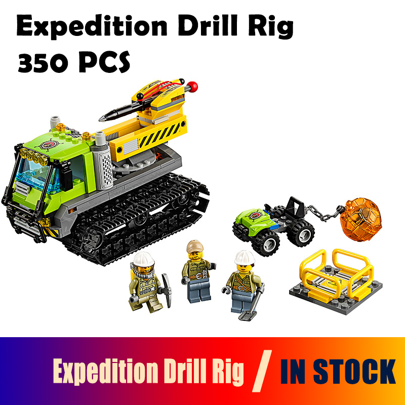 02003 350pcs Model Building Blocks toys City Series Volcano Expedition Drill Rig Compatible with lego City 60122 toys & hobbies 0367 sluban 678pcs city series international airport model building blocks enlighten figure toys for children compatible legoe
