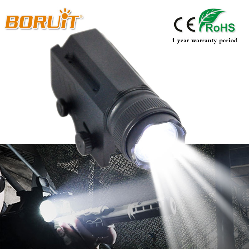 BORUIT 2000LM XML L2 LED Gun Flash Light Tactical Torch Flashlight with Release 20mm Mount for Pistol Airsoft 1 Mode White Light 6000lumens bike bicycle light cree xml t6 led flashlight torch mount holder warning rear flash light