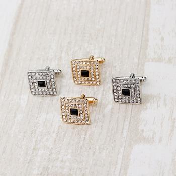 Cufflinks For Men Women Novelty Classic Crystal Rhinestone Cufflink for Men Shirt Wedding Gifts Bling CZ Cuff Links Jewelry