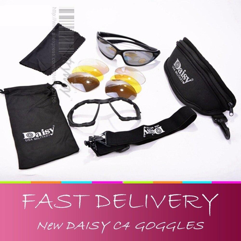 Prix pour NEW Daisy C4 Du Désert Lunettes Tactique Militaire lunettes coupe-vent miroir Tir Airsoft CS lunettes de Sport Racing lunettes