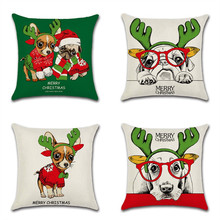 цена на Christmas Animal Glasses Dog Pattern Pillow Case Cartoon Kids Room Chair Throw Pillow Cover Linen Pillowcase Square 45x45cm