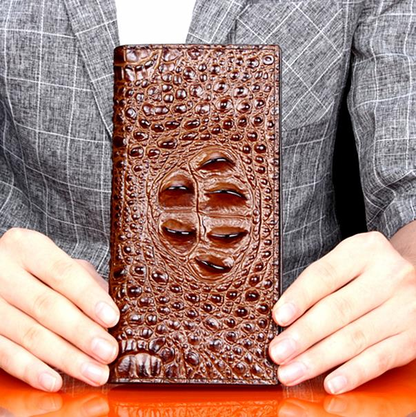 top quality crocodile leather wallet, men's business wallet and men's long leather wallet. zuoyi crocodile leather original zipper snap multifunctional in large capacity and long wallet