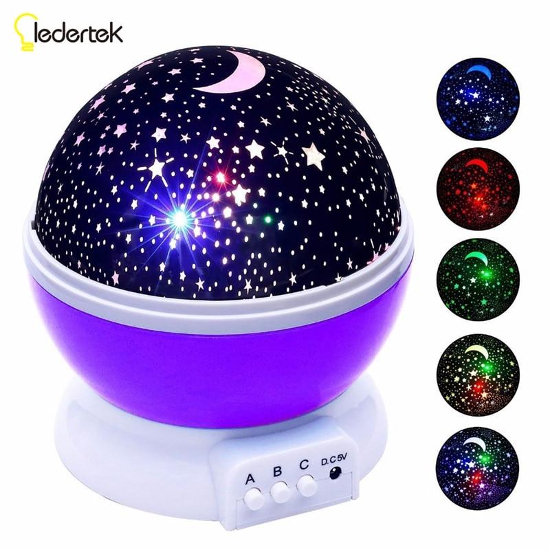Ledertek Stars Starry Sky LED Night Light Projector Luminaria Moon Novelty Table Night Lamp Battery USB Night light For Children