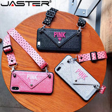 JIATER PINK Glitter Embroidery Leather Case for iPhone 7 7Plus Fashion Wave Point Lanyard Case For iphone XS Max X 8 6 6s Plus(China)