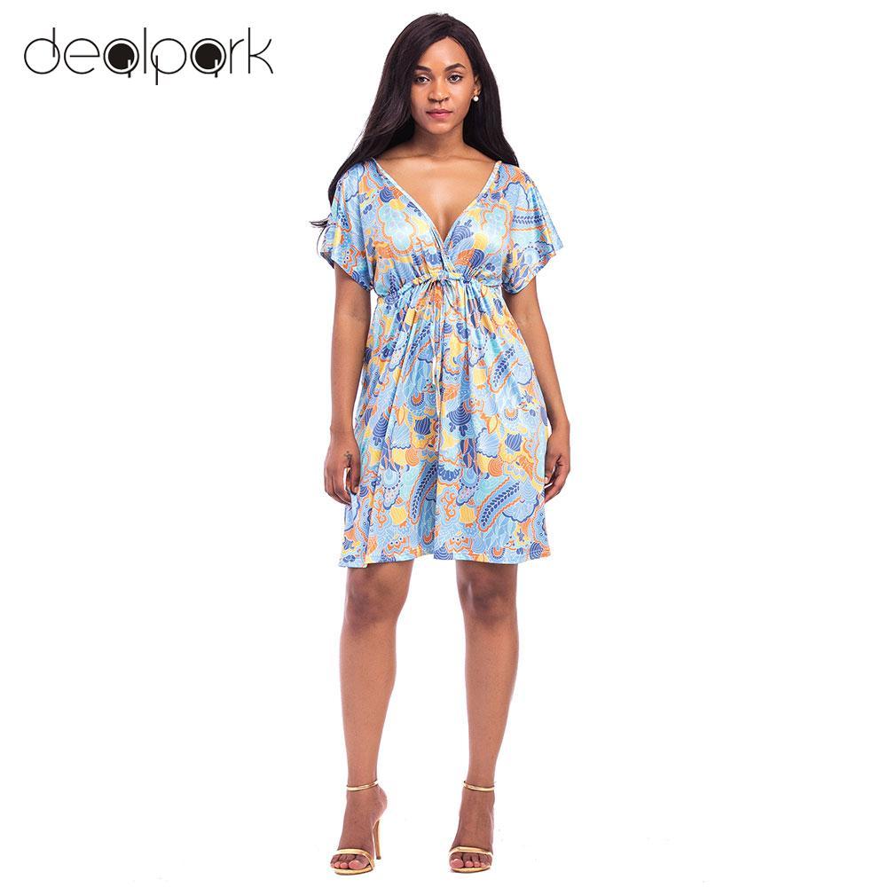 Women Plus Size 3XL 4XL Swing Dress Vintage Floral Print Dress V Neck Short  Sleeve Hippie Boho Smock Dress Summer dress 2019