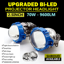 2pcs Car Styling Universal Bi LED Projector Headlights Lens 2.5 inch High and Low Beam Auto Headlamp Light Retrofit Kit