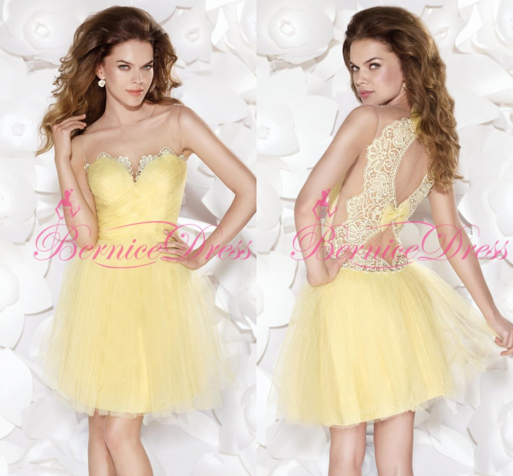 Popular Yellow Short Prom Dresses-Buy Cheap Yellow Short Prom ...