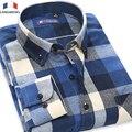 Langmeng 2016 mens primavera outono masculino casual camisa dos homens camisas de vestido de manga comprida de flanela xadrez camisa 100% Algodão camisa masculina