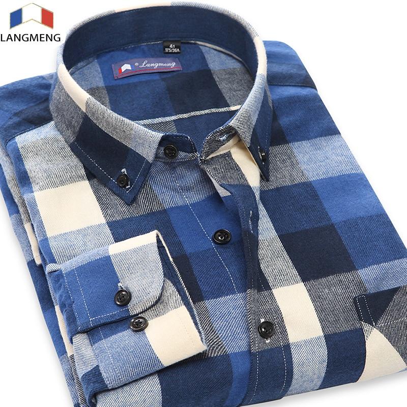 Langmeng 2017 5XL őszi férfi alkalmi ing Férfi hosszú ujjú kockás ruha ing férfi 100% pamut flanel ingek camisa masculina