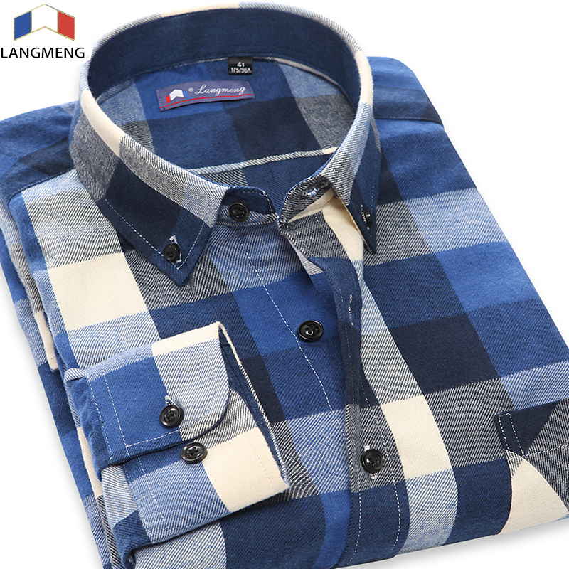 Langmeng 2017 5XL Autunno Uomo Casual Camicia da Uomo manica lunga plaid dress shirt uomo 100% cotone flanella camisa camisa masculina