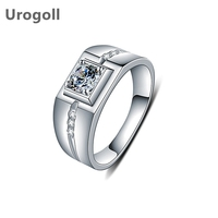 Genuine 925 Silver Jewelry Noble Rings For Men Wedding Party Pure 925 Solid Silver Ring Zirconia Wedding Engagement Jewelry Gift