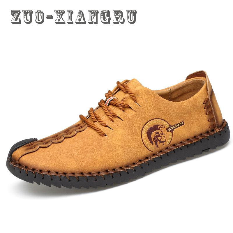 Men's spring/autumn Genuine Leather Shoes Breathable Slip-on man Shoes Casual Shoes For Men High Quality 2017 spring autumn breathable white wild men casual shoes 100% handmade pigskin leather comfort men shoes high quality size40 44