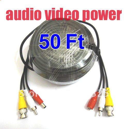 50 Feet Video Audio Power Extension CCTV Cable For Security Camera a83