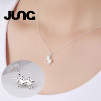 Hot Fashion Moon Unicorn Sweet Charm 925 Sterling Silver Jewelry Delicate Chain Pendant Necklace Women Collier