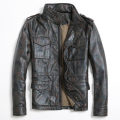 2017 New Long M65 Safari Leather Jacket Men Camouflage Stand Collar Genuine Cowskin Mens Military  Winter Coat FREE SHIPPING