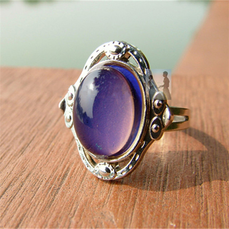 Crystal Jewelry Rings for women&Men Stainless steel Changing Color Mood Ring Temperature Emotion Feeling Rings Adjustable Size