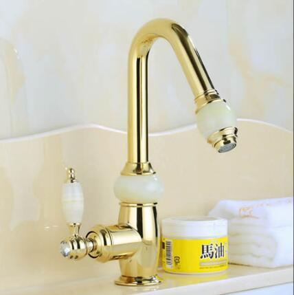 Euro Gold plating Pull out Basin Sink Faucet Luxury Pull Out Bathroom Basin Faucet Brass and Jade Vanity Sink Mixer water Tap rose gold brass bathroom pull out sink faucet with natural jade marble basin mixer torneira single hole handle water tap