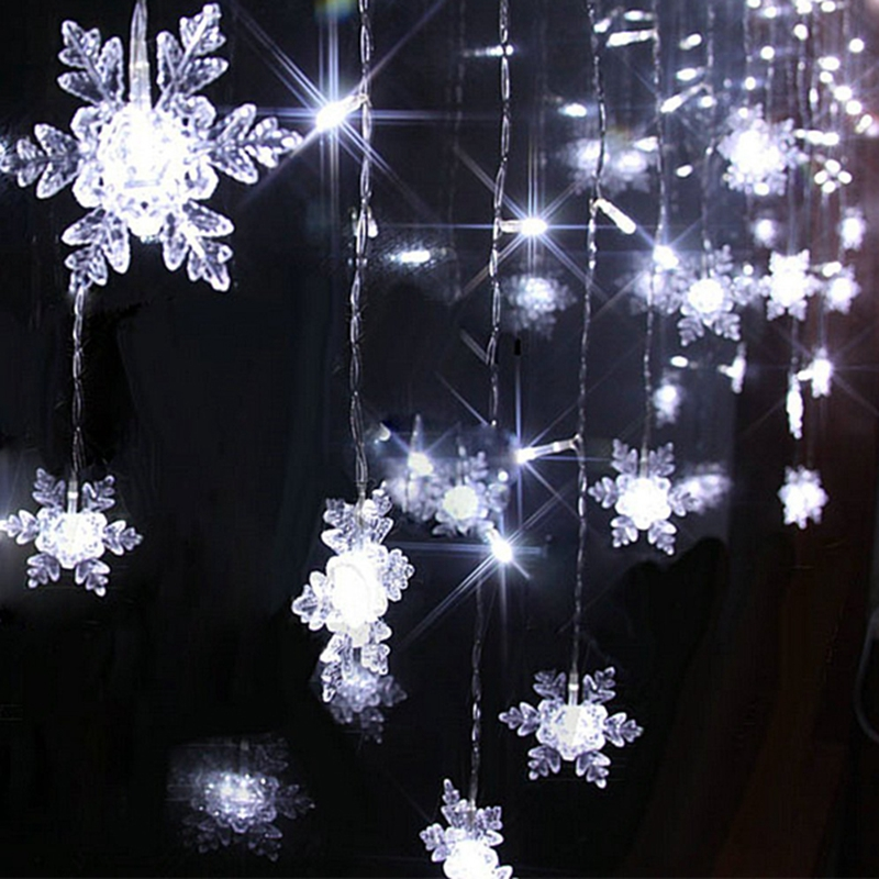 snowflake christmas lighting 2m06m 60leds holiday wedding party decoration string lamp waterproof fairy xmas led curtain light in led string from lights
