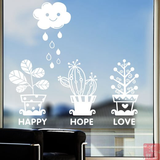 Cartoon window stickers window grilles rain fresh baby nursery decor shop windows and glass wall