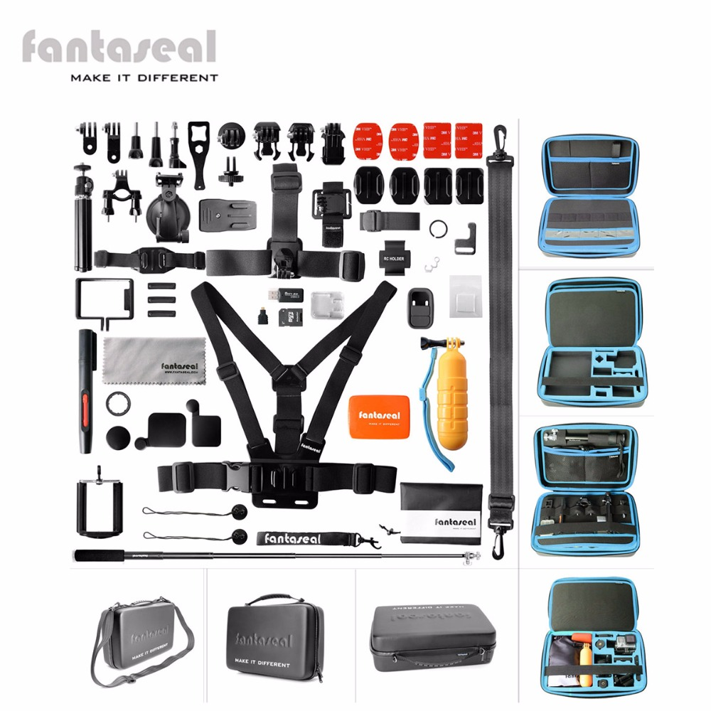 Fantaseal Ultimate 50-in-1 Mount Accessories for GoPro Starter, Suit Case Pack Bag Combo Gadgets Set for GoPro Hero 4 /3+/3 f14586 b apm 2 8 apm2 8 rc multicopter flight controller board compass