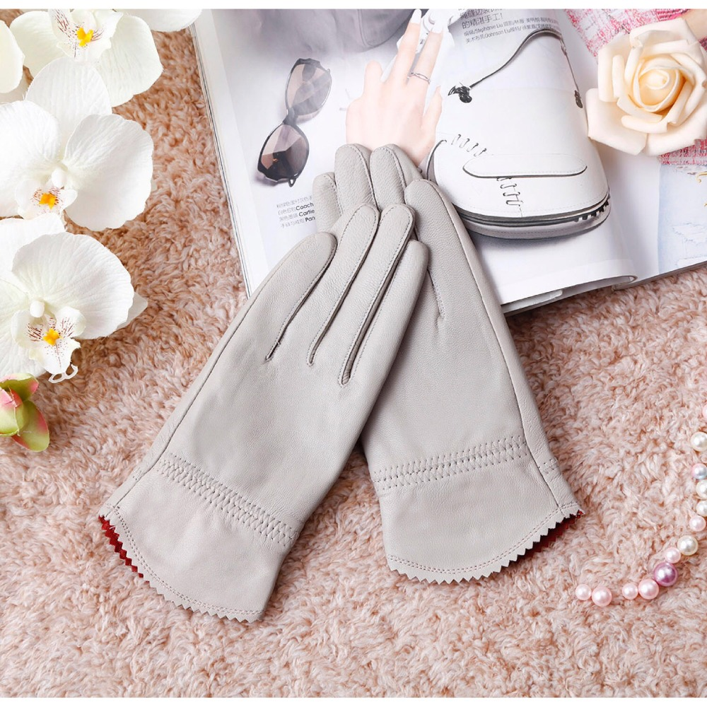 Women's Autumn Winter Thicken Warm Natural Leather Touchscreen Glove Female Genuine Leather Medium Long Gloves R1220