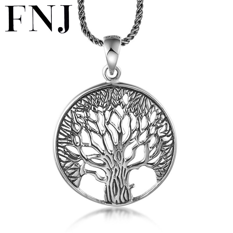 S925 Solid Thai Silver Tree Pendants for Necklace Men Jewelry 100% Real Pure Genuine 925 Sterling Silver Pendant CP17
