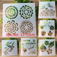 6pc Stencil Flower Butterfly Template Painting Stencil For Scrapbooking Stamp Embossing Card DIY Craft Plastic Drawing Templates