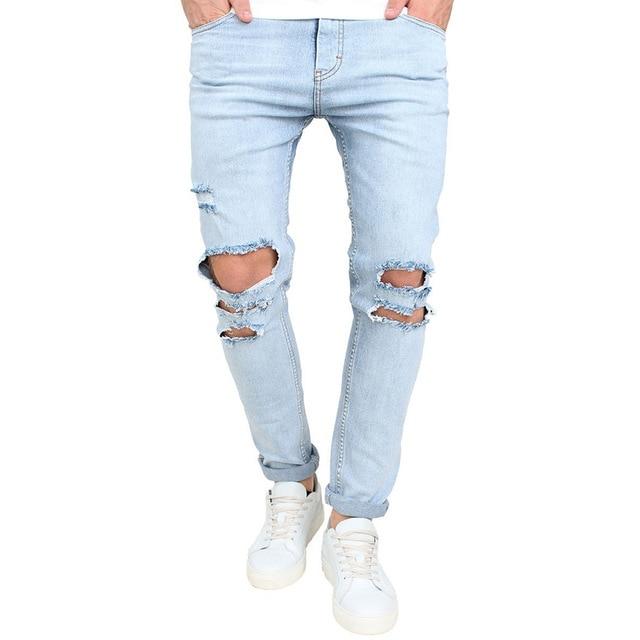 גברים של Ripped Slim Fit ישר ג 'ינס אופנוע עם חורים שבורים צעירות למראה מכנסיים