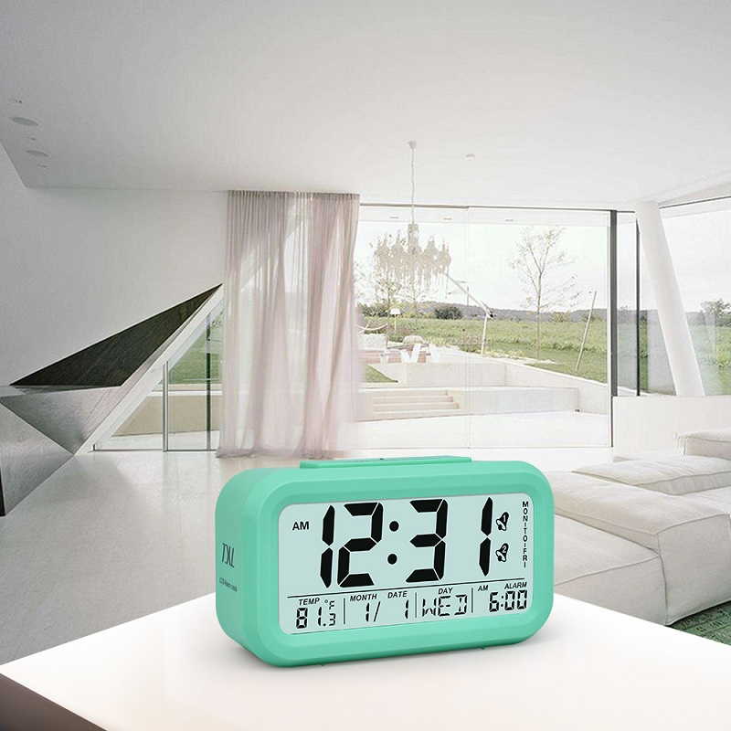 TXL Digital Wecker LCD Student Schlafzimmer Elektronische Uhr Smart Snooze  Sensor Despertad Kinder Tisch Uhr Temperatur Datum Woche Nacht Licht Uhr