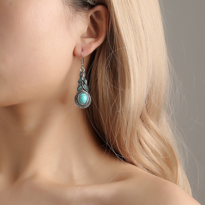 New European and American fashion vintage court blue crystal inlaid earrings Bohemia personality accessories combination