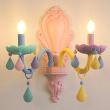 hot deal buy art deco cartoon colorful led crystal wall lamps macaroon princess' room girls' bedroom glass wall sconce decorative wall lights