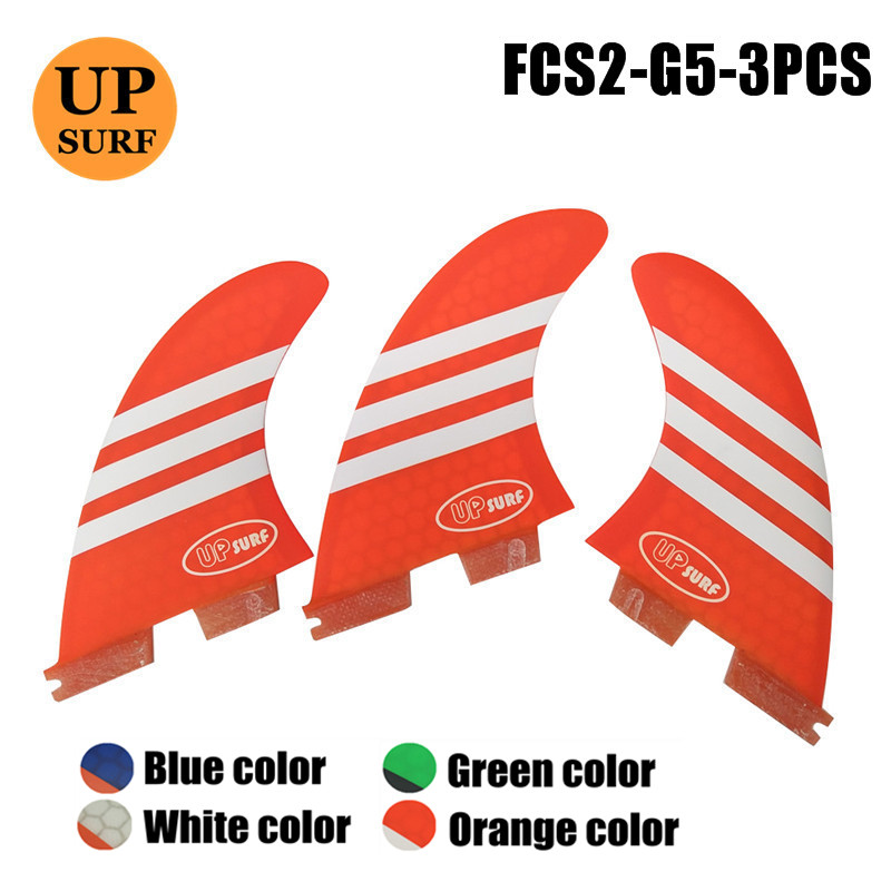 サーフボードフィン FCS2 フィン G5 オレンジサーフィンフィンサーフ G5 送料無料  グループ上の スポーツ & エンターテイメント からの サーフィン の中 1