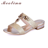 Meotina Shoes Women Sandals Summer Rhinestone Ladies Slippers Open Toe Low Heel Slides Crystal Sandals Sliver