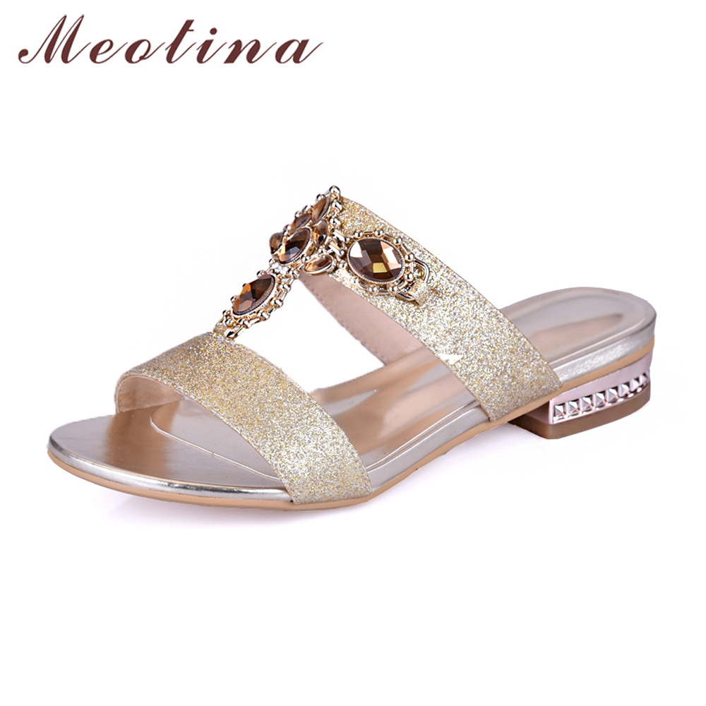 Meotina Shoes Women Sandals Summer Rhinestone Ladies Slippers Open Toe Low Heel Slides Crystal Sandals Sliver Gold Big Size 9 10 summer women leather high heeled shoes sandals rhinestone pump sandals ladies open toe slippers plus size 33 41