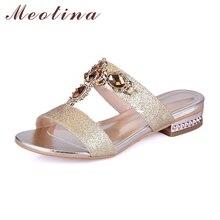Купить с кэшбэком Meotina Shoes Women Sandals Summer Rhinestone Ladies Slippers Open Toe Low Heel Slides Crystal Sandals Sliver Gold Big Size 9 10