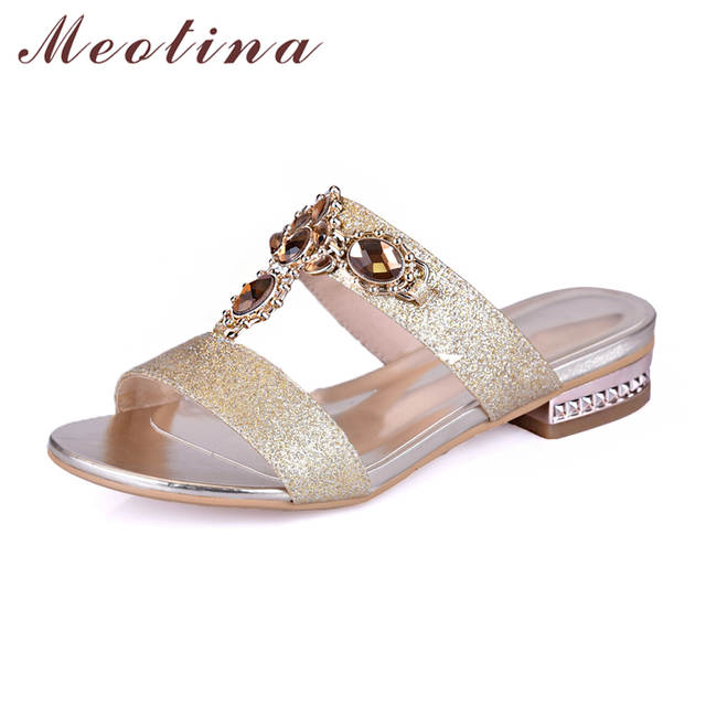 Meotina Shoes Women Sandals Summer Rhinestone Ladies Slippers Open Toe Low  Heel Slides Crystal Sandals Sliver Gold Big Size 9 10-in Low Heels from  Shoes on ... 09d225792bca
