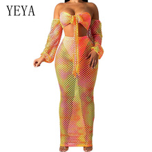 YEYA Sexy Hollow Out See Through Grid Dress Elegant Lantern Sleeve Wrapped Chest Tie Up 2-piece Summer Boho Beach Dresses