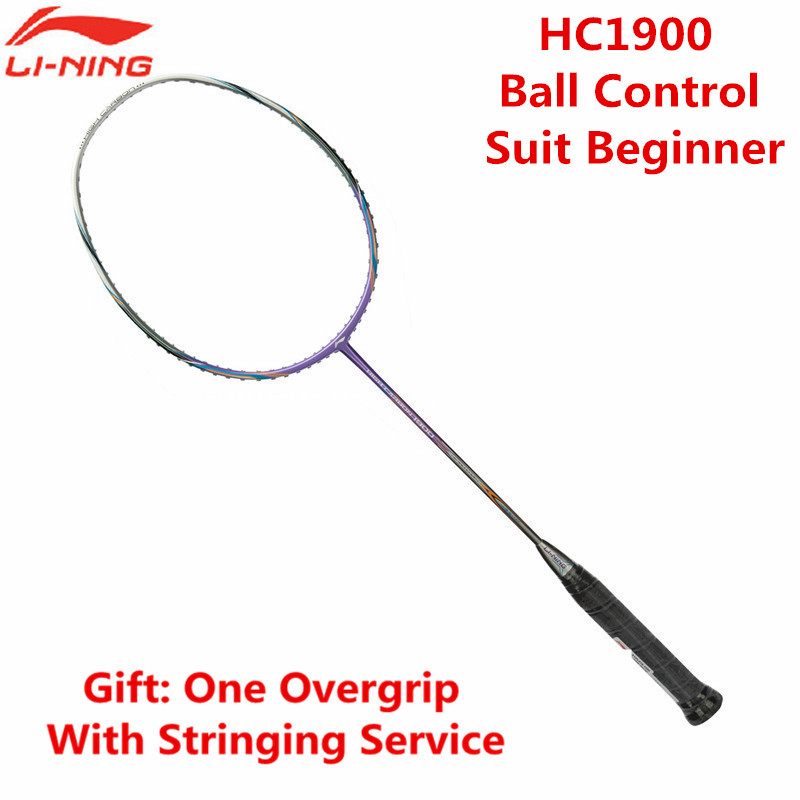 Li Ning Cheap Badminton Rackets HC1900 Full Carbon Lining Ball Control Racquets LN AYPJ096 With Overgrip