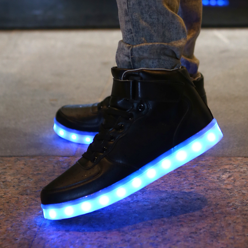 45 Size Colorful LED Light Shoes Luminous Light Up Shoes For Adults Men  Women Fashion Casual High Top Leather Flash Shoes Black-in Men s Casual  Shoes from ... f0d051edf0f6