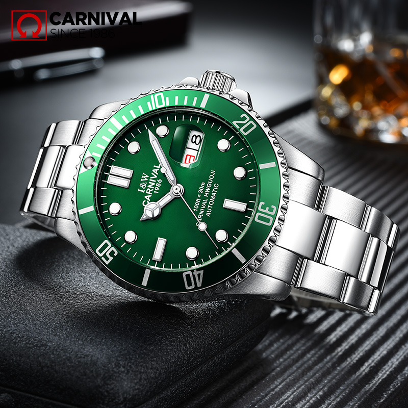 2017 CARNIVAL Submariner Collection Mens Watches Swiss Topbrand Luxury Automatic Mechanical Waterproof Sports Casual Luminous