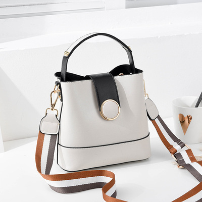 Striped Wide Shoulder Strap Women Bucket Bag Solid Color Buckle Handbag Fashion Simple Shoulder Bags High Quality Purses