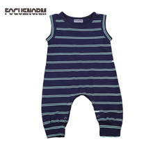 Newborn Baby Girls Boys Stripes Vest Romper Playsuit Pants Summer Casual Clothes Cute Baby One-piece Navy Blue Striped Romper(China)