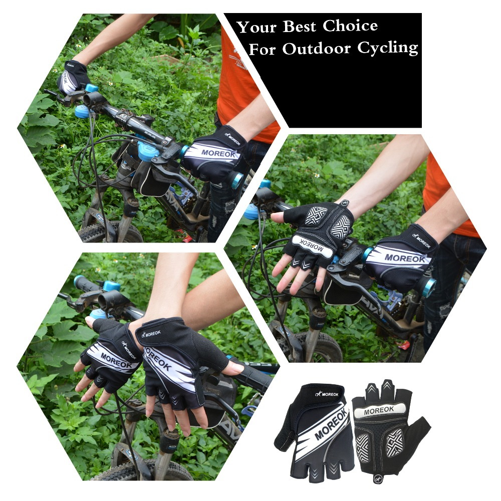 Купить с кэшбэком MOREOK Half Finger Anti slip Breathable Road Bike Cycling Gloves Wearable Moutain Bike Bycling Shockproof Mtb Bicycle Men Women