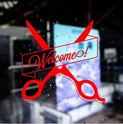 Barber Salon Glass Door Stickers Decorative Wall Stickers Shop Windows And  Scissors Welcome